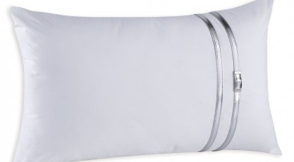 Taie de coussin KIM  N. Blanc Collection argent