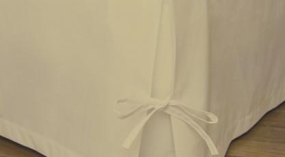 Cache-sommier avec nouette Lin beige crème