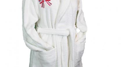 Peignoir de bain Blanc Noeud rose